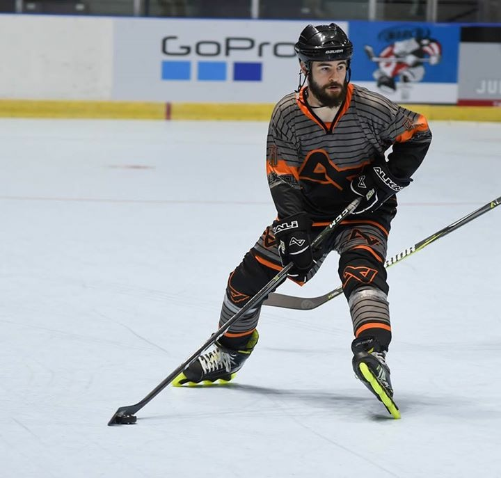 Cody Kettler, a Labeda sponsored athlete playing in a pro roller hockey trounament.