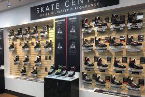 A wall at Pure Hockey full of New Skates.