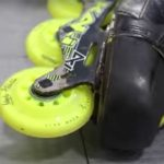 Roller hockey skate showing Labeda Addiction roller hockey wheel