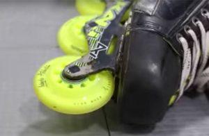 Roller hockey skate showing Labeda Addiction roller hockey wheel