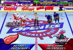 A screen shot of the 2 on 2 Open Ice Hockey Challenge hockey video games